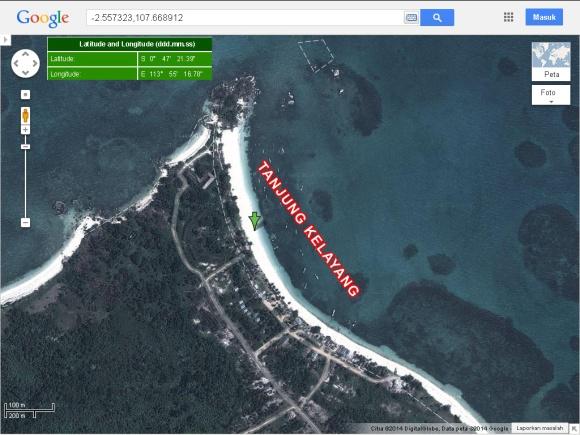 Lokasi Pantai Tanjung Kelayang, Belitung