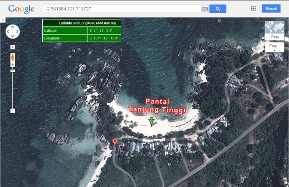 Lokasi Pantai Tanjung Tinggi, Belitung